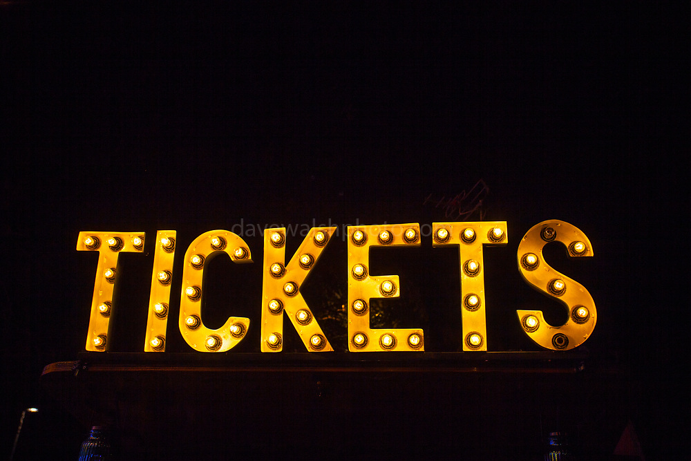 Tickets, sign made of lightbulbs