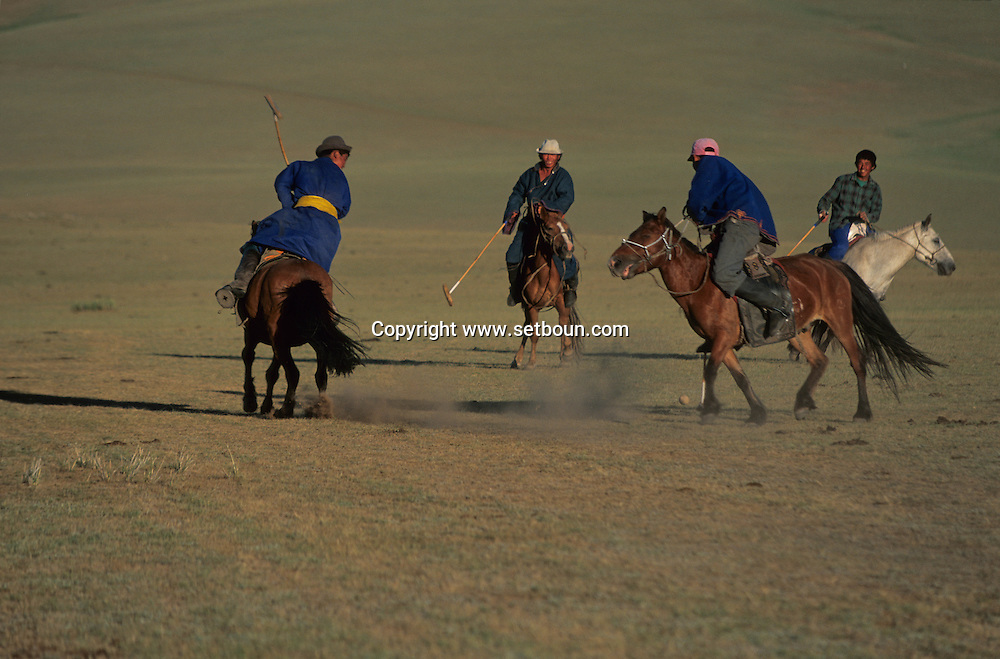 Mongolia. Polo game. - sport born in Mongolia- Orkhon valley  Karakorum   Mongolia