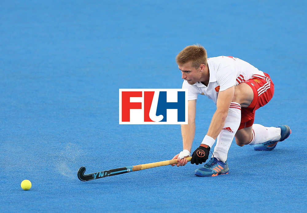 LONDON, ENGLAND - JUNE 25:  Brendan Creed of England in action during the 3rd/4th place match between Malaysia and England on day nine of the Hero Hockey World League Semi-Final at Lee Valley Hockey and Tennis Centre on June 25, 2017 in London, England. (Photo by Steve Bardens/Getty Images)
