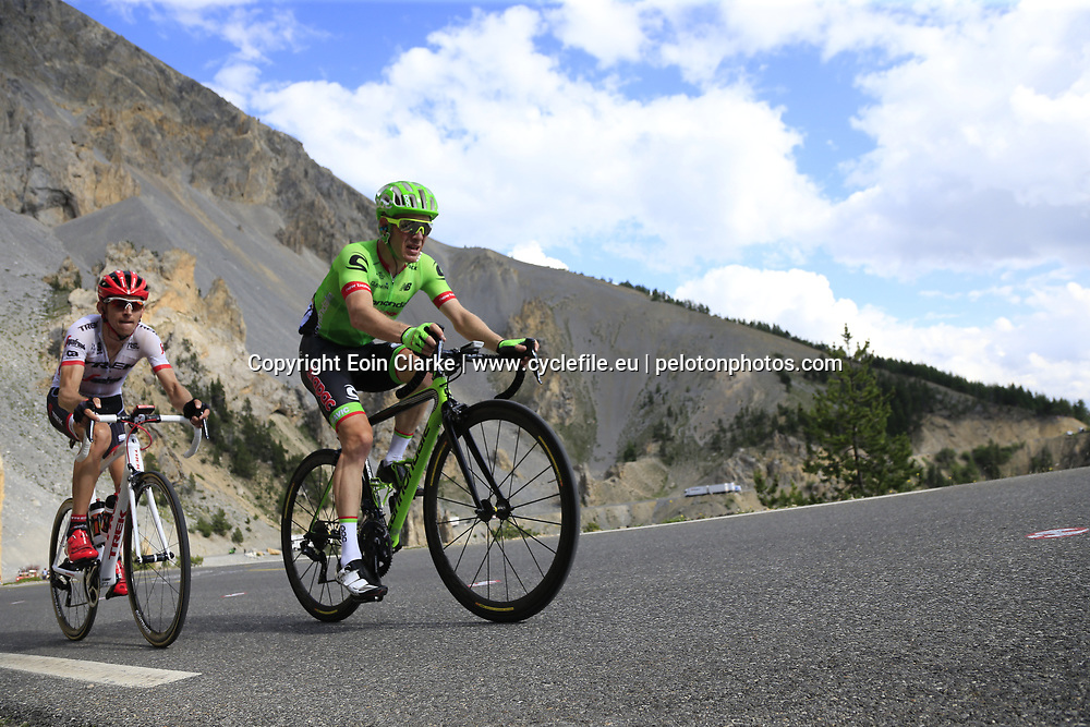 Andrew Talansky (USA) Cannondale Drapac and Bauke Mollema (NED) Trek-Segafredo climb through the Caisse Deserte on Col d'Izoard during Stage 18 of the 104th edition of the Tour de France 2017, running 179.5km from Briancon to the summit of Col d'Izoard, France. 20th July 2017.<br /> Picture: Eoin Clarke | Cyclefile<br /> <br /> All photos usage must carry mandatory copyright credit (&copy; Cyclefile | Eoin Clarke)