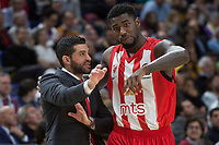 Crvena Zvezda coach Dusan Alimpijevic and Mathias Lessort during Turkish Airlines Euroleague match between Real Madrid and Crvena Zvezda at Wizink Center in Madrid, Spain. December 01, 2017. (ALTERPHOTOS/Borja B.Hojas)