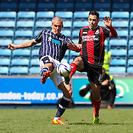 Nicky Bailey of Millwall and Adam Smith of Bournemouth during the Sky Bet Championship match at The Den, London<br /> Picture by David Horn/Focus Images Ltd +44 7545 970036<br /> 03/05/2014