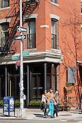 Typical street corner on Wythe Avenue in the Williamsburg neighborhood in Brooklyn, New York.
