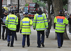 © under license to London News Pictures. LONDON, UK  17/05/2011. Police carry out security checks in Whitehall, Central London today (17 May 2011). Please see special instructions for usage rates. Photo credit should read Stephen Simpson/LNP.