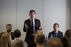 © Licensed to London News Pictures . 05/02/2016 . Manchester , UK . AFZAL KHAN MEP , ANDY BURNHAM MP and JUERGEN MAIER , CEO of Siemens . Labour in for Britain pro-EU campaign event at the Siemens technology campus in South Manchester . Photo credit : Joel Goodman/LNP