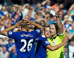 01.10.2011, Goodison Park, Liverpool, ENG, PL, Everton FC vs Liverpool FC, im Bild Everton's Jack Rodwell is shown the red card and sent off by referee Martin Atkinson after a tackle on Liverpool's Luis Alberto Suarez Diaz during the Premiership match at Goodison Park, EXPA Pictures © 2011, PhotoCredit: EXPA/ Propaganda/ *** ATTENTION *** UK OUT!