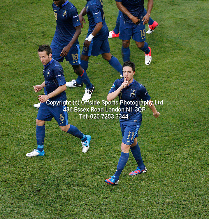 11/06/2012 European football championships. France v England.<br /> Samir Nasri makes a silence gesture to the England bench after his goal.<br /> Photo: Mark Leech.