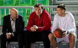 Andrej Zakelj of Olimpija, Matjaz Smodis of CSKA and Goran Jagodnik of Olimpija prior to the basketball match between KK Union Olimpija (SLO) and CSKA Moscow (RUS) in Group D of Turkish Airlines Euroleague, on December 15, 2010 in SRC Stozice, Ljubljana, Slovenia. (Photo By Vid Ponikvar / Sportida.com)