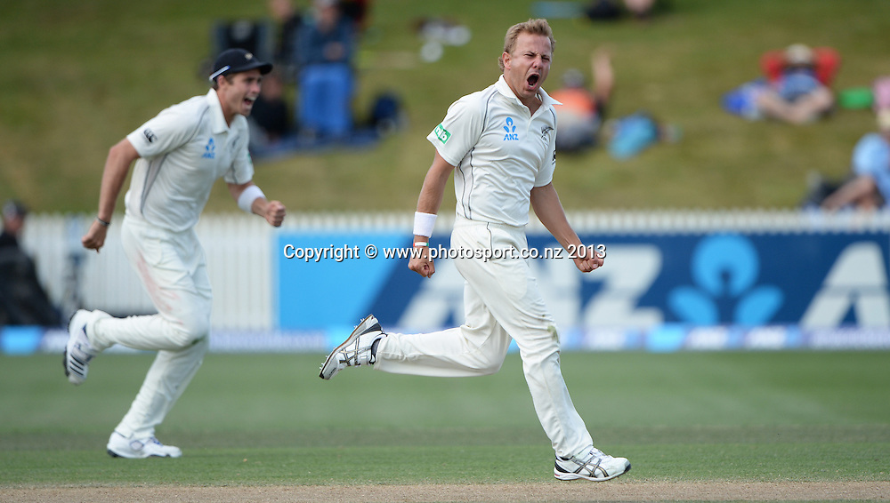 Neil Wagner celebrates the wicket of Narsingh Deonarine on Day 3 of the 3rd cricket test match of the ANZ Test Series. New Zealand Black Caps v West Indies at Seddon Park in Hamilton. Saturday 21 December 2013. Photo: Andrew Cornaga / www.Photosport.co.nz