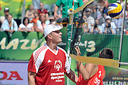 Pawel Papke while exhibition match of Special Olympics Poland during Day 7 of the FIVB World Championships on July 7, 2013 in Stare Jablonki, Poland. <br /> <br /> Poland, Stare Jablonki, July 07, 2013<br /> <br /> Picture also available in RAW (NEF) or TIFF format on special request.<br /> <br /> For editorial use only. Any commercial or promotional use requires permission.<br /> <br /> Mandatory credit:<br /> Photo by &copy; Adam Nurkiewicz / Mediasport