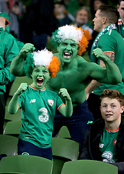 Republic of Ireland fans show support for their team in the stands before the FIFA World Cup qualifying play-off second leg match at the Aviva Stadium, Dublin.