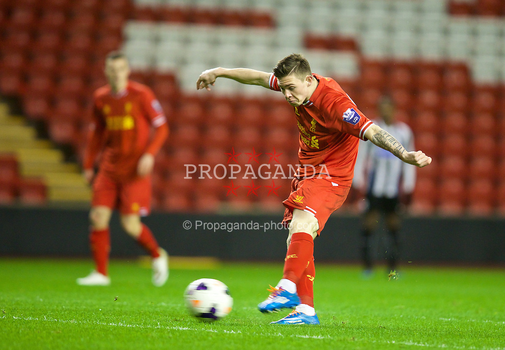 LIVERPOOL, ENGLAND - Friday, March 21, 2014: Liverpool's Jack Dunn scores the first equalising goal against Newcastle United during the Under 21 FA Premier League match at Anfield. (Pic by David Rawcliffe/Propaganda)