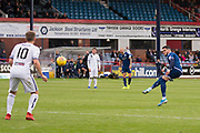 14th September 2019; Dens Park, Dundee, Scotland; Scottish Championship, Dundee Football Club versus Alloa Athletic; Declan McDaid of Dundee fires in a free kick