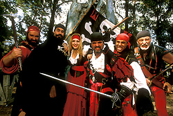 Stock photo of a group dressed as pirates at the Texas Renaissance Festival in Plantersville Texas