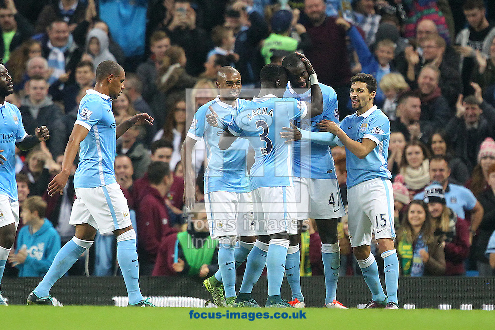 Yaya Toure of Manchester City celebrates scoring what turns out to be the winning goal from the penalty spot during the Barclays Premier League match at the Etihad Stadium, Manchester<br /> Picture by Paul Chesterton/Focus Images Ltd +44 7904 640267<br /> 31/10/2015