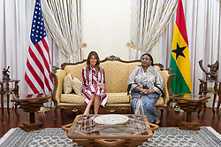 October 2, 2018 - Accra, Ghana, West Africa - First Lady Melania Trump and Rebecca Akufo-Addo, the First Lady of the Republic of Ghana meet during a welcome ceremony in Accra, Ghana. (Credit Image: ? Andrea Hanks/White House via ZUMA Wire/ZUMAPRESS.com)