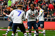 Goal - Callum Robinson (7) of Preston North End celebrates scoring a goal to give a 0-1 lead to the away team with Daniel Johnson (11) of Preston North End  during the EFL Sky Bet Championship match between Bristol City and Preston North End at Ashton Gate, Bristol, England on 10 November 2018.