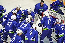 Team Slovenia prior to the Ice Hockey match between National Teams of Italy and Slovenia in Round #5 of 2018 IIHF Ice Hockey World Championship Division I Group A, on April 28, 2018 in Arena Laszla Pappa, Budapest, Hungary. Photo by David Balogh / Sportida