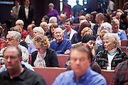 Nov. 23, 2009 -- PHOENIX, AZ: The crowd waits to hear Sen. John McCain speak about health care reform at North Phoenix Baptist Church in Phoenix, AZ. About 300 people, most of them medical professionals, attended the meeting to hear Sen. McCain talk about the health care reform proposals currently in congress and to give McCain their opinions on health care reform.   Photo by Jack Kurtz