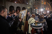 Crowds inside of the under-construction Sv Sava cathedral.<br /> <br /> Joint liturgy with Serbian Orthodox and Russian Orthodox patriarchs in Sveti Sava cathedral. Belgrade, Serbia.