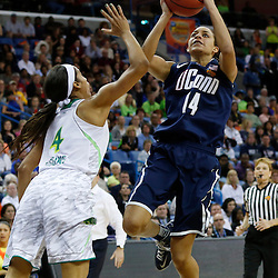 April 7, 2013; New Orleans, LA, USA; Connecticut Huskies guard Bria Hartley (14) shoots against Notre Dame Fighting Irish guard Skylar Diggins (4) during the second half in the semifinals during the 2013 NCAA womens Final Four at the New Orleans Arena. Mandatory Credit: Derick E. Hingle-USA TODAY Sports