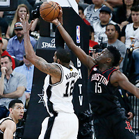 03 May 2017: San Antonio Spurs forward LaMarcus Aldridge (12) vies for the rebound with Houston Rockets center Clint Capela (15) during the San Antonio Spurs 121-96 victory over the Houston Rockets, in game 2 of the Western Conference Semi Finals, at the AT&T Center, San Antonio, Texas, USA.