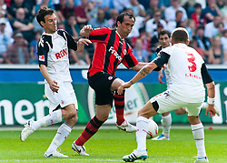 07.05.2011, Commerzbank-Arena, Frankfurt, GER, 1. FBL, Eintracht Frankfurt vs 1.FC Koeln, im Bild vl.  Christian Eichner (Koeln #4), Theofanis Gekas (Frankfurt #21), Youssef Mohamad (Koeln #3), EXPA Pictures © 2011, PhotoCredit: EXPA/ nph/  Roth       ****** out of GER / SWE / CRO  / BEL ******