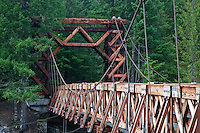 Nisqually River wooden suspension bridge at Longmire village in Mount Rainier National Park, WA USA