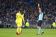 Yellow card Denis Cheryshev of Villarreal and Referee Victor Kassai during the UEFA Europa League, Round of 32, 1st leg football match between Olympique Lyonnais and Villarreal on February 15, 2018 at Groupama stadium at Decines-Charpieu near Lyon, France - Photo Romain Biard / Isports / ProSportsImages / DPPI