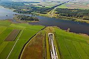 Nederland, Overijssel, Gemeente Kampen, 03-10-2010; tunnel voor de Hanzelijn onder het Dronter meer, tussen Polder Dronten en Flevoland (boven)..Tunnel under Dronter lake for the Hanzelijn, between Polder Dronten and Flevoland (top)..luchtfoto (toeslag), aerial photo (additional fee required).foto/photo Siebe Swart