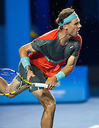 Rafael Nadal (ESP) faced B. Tomic in day two play of the 2014 Australian Open at Melbourne's Rod Laver Arena. Tomic forfeited the match blaming leg pain giving Nadal the win. One set was completed during match play with Nadal up 6-4.
