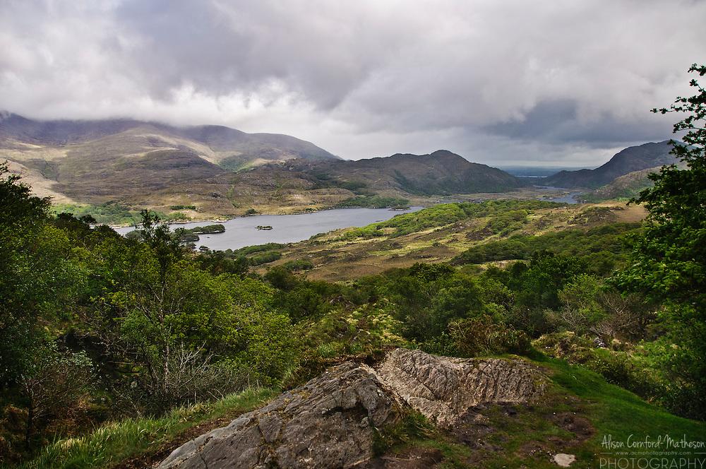 A scenic view of the lakes of Killarney in Killarney National Park, County Kerry, Ireland.