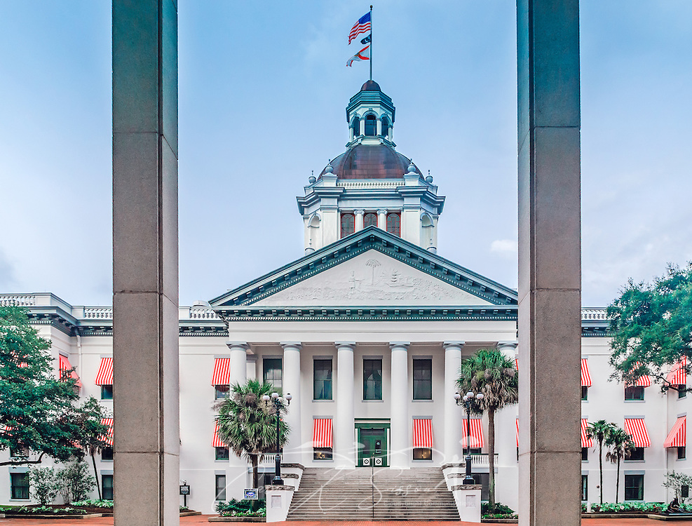 The old Florida State Capitol building is pictured, July 20, 2013, in Tallahassee, Florida. The Classical Revival style building was built in 1845 and is listed on the National Register of Historic Places. The new capitol was built in the 1970's, and the old capitol was slated for demolition, but citizens rallied to have it preserved. It is one of Tallahassee's most photographed landmarks. (Photo by Carmen K. Sisson/Cloudybright)