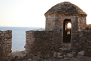 Lookout tower with a view across the Bay, at the Kalaja e Porto Palermos (Porto Palermo Castle or Panormos Castle), in the Porto Palermo Bay near Himare in the Albanian Riviera in Southern Albania. The castle was built in triangular plan by the Venetians and was ruled by Ali Pasha before he bequested it to the Royal Navy in 1803. Picture by Manuel Cohen