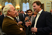 """© Licensed to London News Pictures. 11/09/2012. London, UK L-R Simon Callow, Nick Clegg. Nick Clegg makes a speech at a reception to celebrate the Government's Consultation on Gay Marriage. Today, 11 September 2012. In the speech he withdrew comments about opponents of gay marriage which in an early draft released to media he called them """"bigots"""". Photo credit : Stephen Simpson/LNP"""