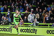 Forest Green's Jonathan Parkin celebrates his goal in front of the away fans during the Vanarama National League match between Forest Green Rovers and Eastleigh at the New Lawn, Forest Green, United Kingdom on 20 February 2016. Photo by Shane Healey.