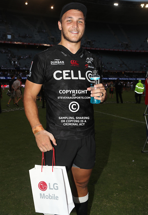 Andre Esterhuizen of the Cell C Sharks  man of the match during the Super Rugby match between the Cell C Sharks and the Jaguares  April 8th 2017 - at Growthpoint Kings Park,Durban South Africa Photo by (Steve Haag Sports)
