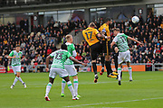 Newport  Joss Labadie (4) scores a goal 2-0 second half during the EFL Sky Bet League 2 match between Newport County and Yeovil Town at Rodney Parade, Newport, Wales on 7 October 2017. Photo by Gary Learmonth.