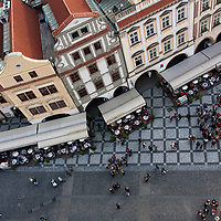 The Old Town Square and the Wenceslas Square are one of the most visited locations in Prague. In summer both squares are invaded by tourists. This photo was taken from the Old Town Hall Tower.