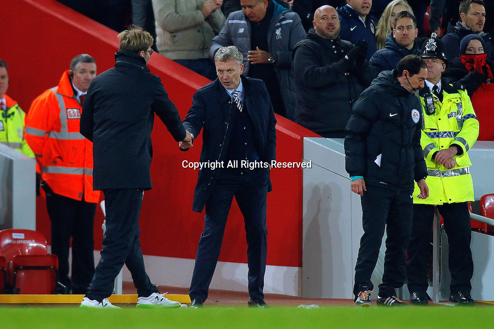 26.11.2016. Anfield, Liverpool, England. Premier League Football. Liverpool versus Sunderland. Liverpool Manager Jurgen Klopp and Sunderland Manager David Moyes shake hands at the end of the game