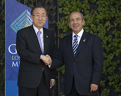 Mexican President Felipe Calderon welcomes United Nations Secretary General Ban Ki-Moon at the G20 Summit in Mexico, June 2012 Photo by: Imago / i-Images