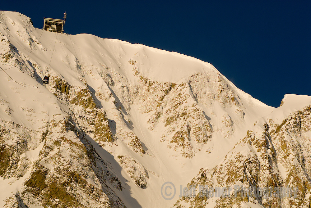 "The summit of Lone Mountain with tram station and ""Big Couloir"".  Big Sky Resort, Big Sky, Montana."