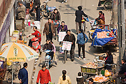 Traditional Chinese street market viewed from the City Wall, Xian, China