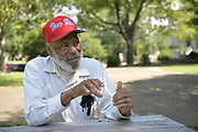 """April 28, 2020 Jackson, MS<br /> Mississippi native son and civil rights icon, James Meredith, 86, speaks about Covid -19 and how the world will never be the same. He also spoke about the murder of  George Floyd in Minnesota and how it is another example of """"holding down a black man,"""" oppression and racism in America. James stresses that it is time for African American Christians to stand up and raise the moral character of their race and lead and by example. He feels the first step is to follow the golden rules and 10 commandments and Mississippi is the center of the Universe. He also stated that it is imperative the African American community votes, in all elections. James will be turning 87 on June 25th and plans on starting his last mission from God then and self publishing his 28th book. His mission involves him traveling to all 82 counties in Mississippi and spreading his message from God and his plan to fix the black/white race issue in America. Photo ©Suzi Altman"""