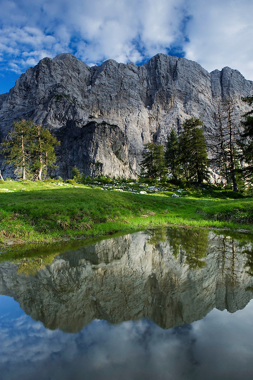 Mount Velika Mojstrovka reflected in a pool, view from &quot;Sleme&quot;<br /> Julian Alps<br /> Triglav National Park, Slovenia<br /> July 2009