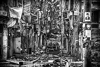 A destroyed street is seen in Salaheddine district, where the fighting between the Syrian army and the Free Syrian Army erupted first in Aleppo, Syria. Almost all of infrastructures in the town of Aleppo have been destroyed. The historic town known as the world heritage sight which has one of the richest history in the world has been torn.
