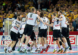Players of Germany celebrate after winning during handball match between National teams of Germany and Sweden on Day 4 in Preliminary Round of Men's EHF EURO 2016, on January 18, 2016 in Centennial Hall, Wroclaw, Poland. Photo by Vid Ponikvar / Sportida