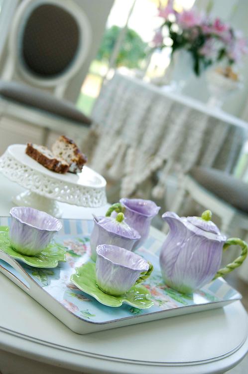 A purple flower tea service