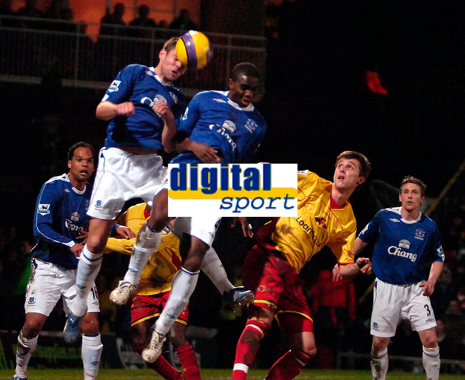Photo: Ed Godden/Sportsbeat Images.<br /> Watford v Everton. The Barclays Premiership. 24/02/2007.<br /> The Everton defence clear a late attack from Watford.