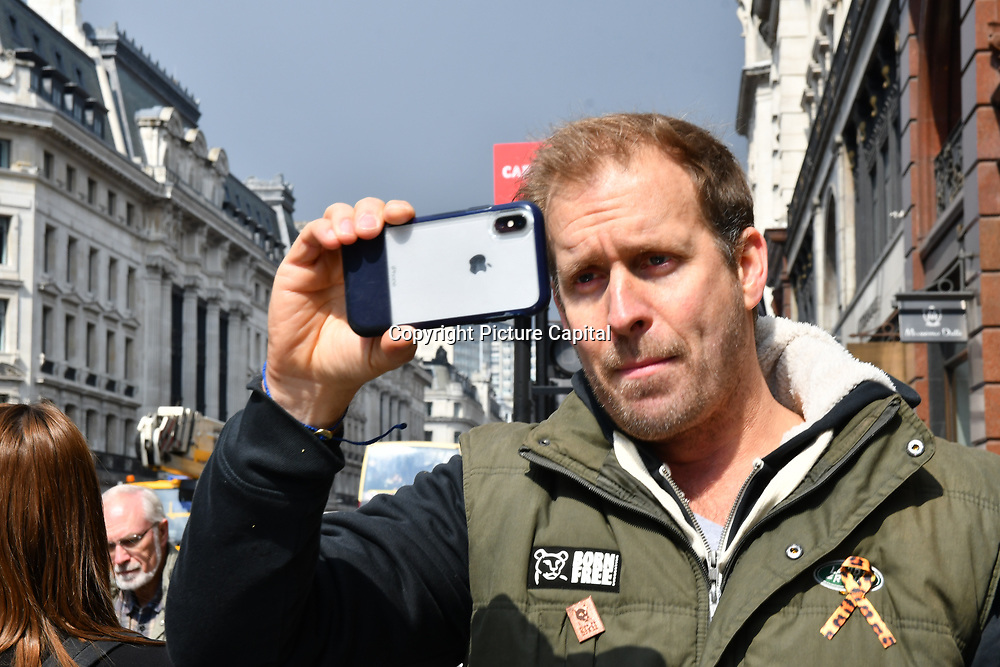 Dan Richardson is an actor join the march at the 5th Global March for Elephants and Rhinos march against extinction and trophy hunting murdering and killing animals for blood spots and ivory trade on 13 April 2019, London, UK.